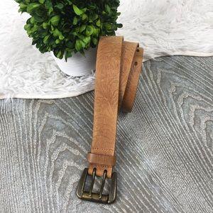Jessica Simpson 100% Leather Floral Embossed Belt